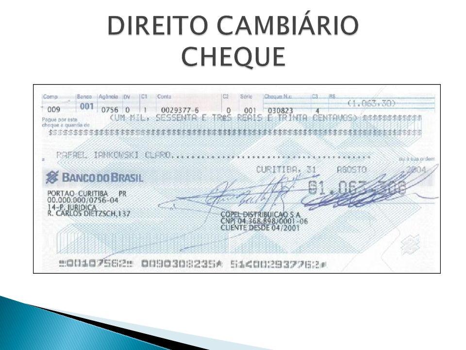 DIREITO CAMBIÁRIO CHEQUE