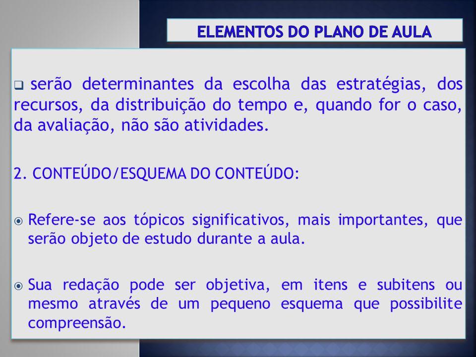 ELEMENTOS DO PLANO DE AULA