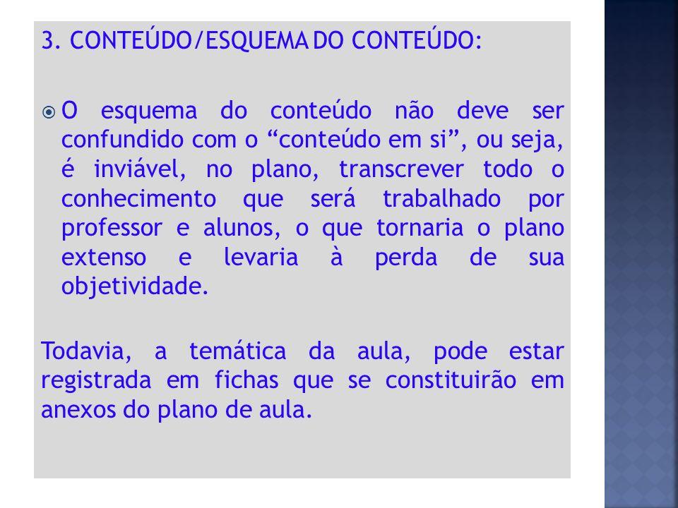 3. CONTEÚDO/ESQUEMA DO CONTEÚDO: