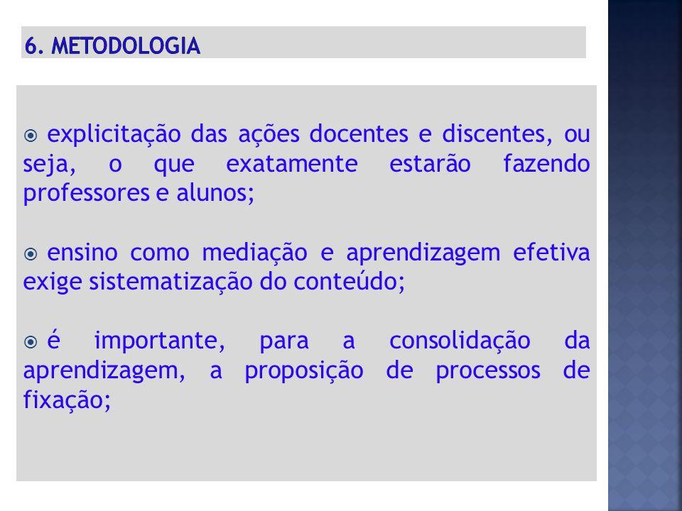 6. METODOLOGIA explicitação das ações docentes e discentes, ou seja, o que exatamente estarão fazendo professores e alunos;