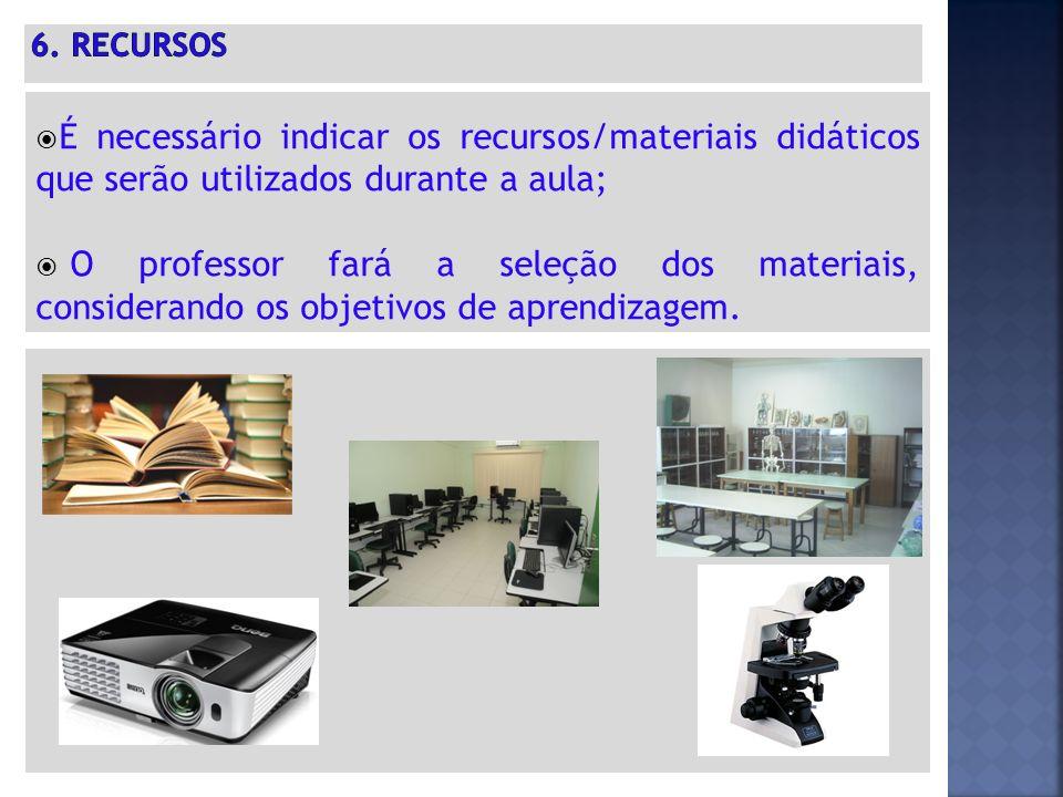 6. RECURSOS É necessário indicar os recursos/materiais didáticos que serão utilizados durante a aula;
