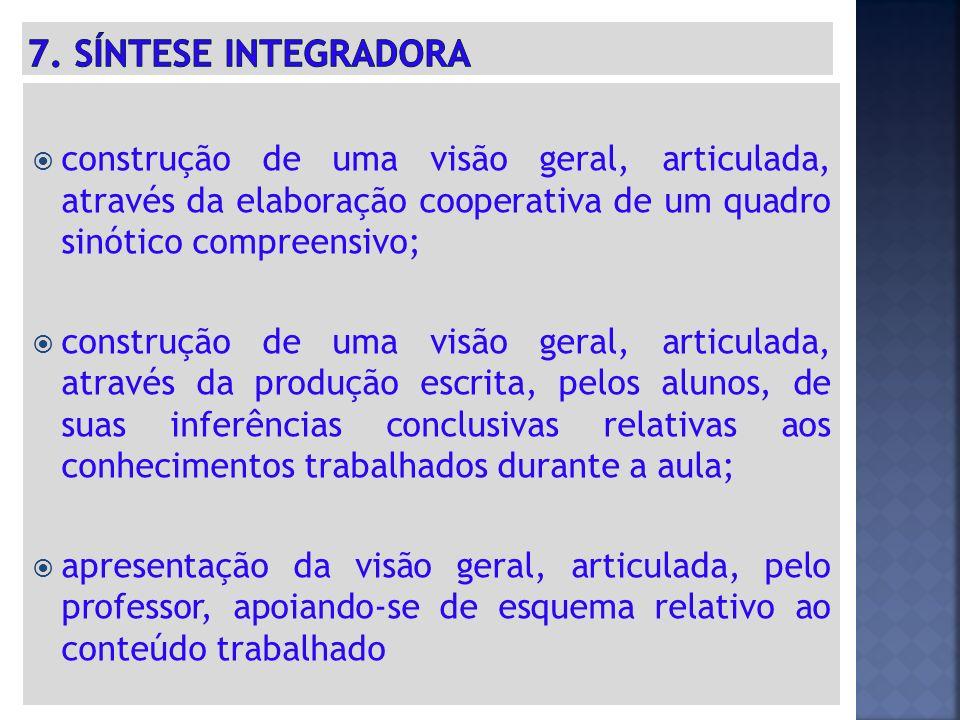 7. SÍNTESE INTEGRADORA construção de uma visão geral, articulada, através da elaboração cooperativa de um quadro sinótico compreensivo;