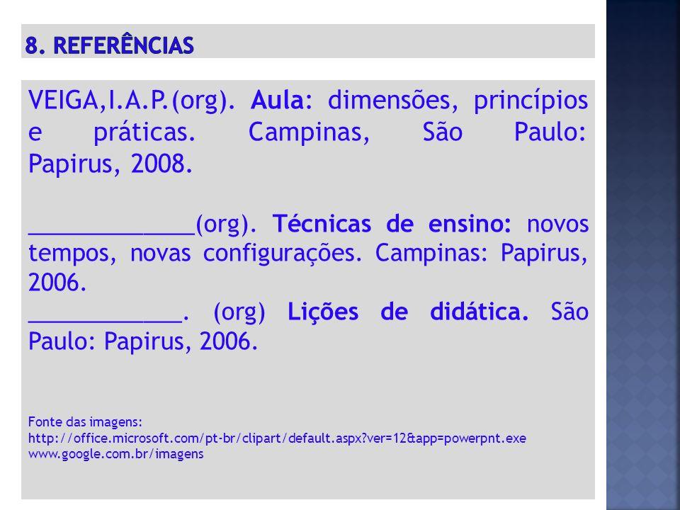 8. REFERÊNCIAS VEIGA,I.A.P.(org). Aula: dimensões, princípios e práticas. Campinas, São Paulo: Papirus, 2008.