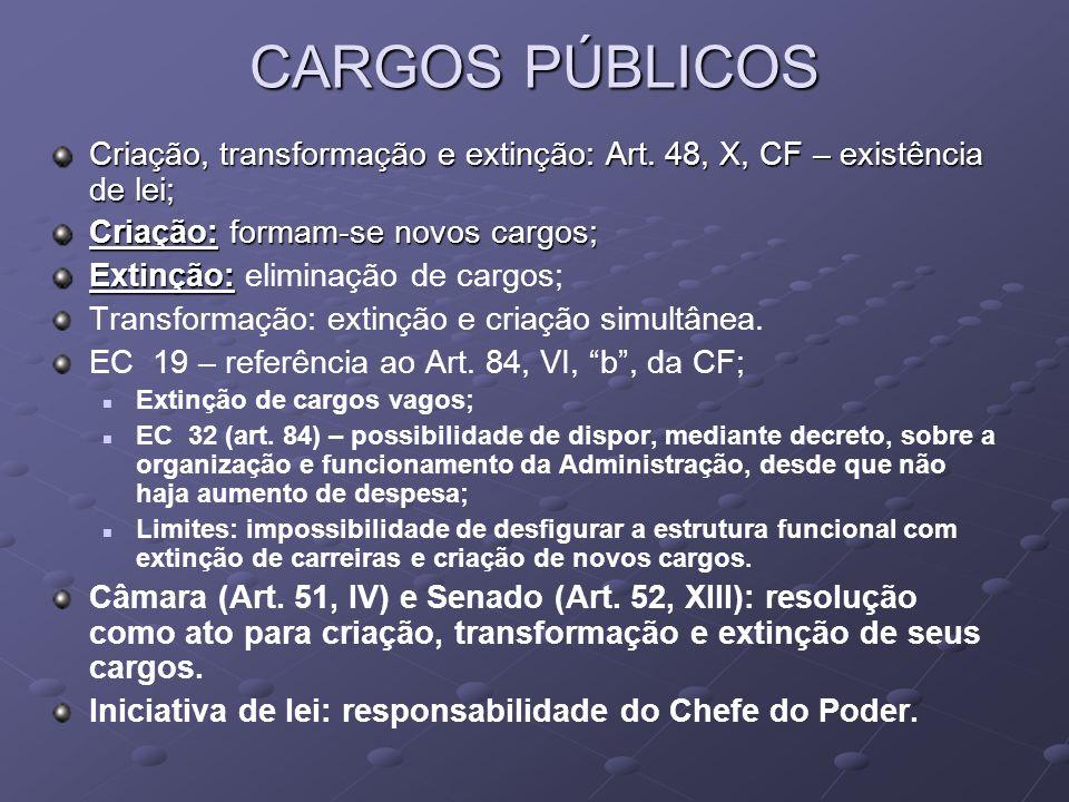 CARGOS PÚBLICOS Criação, transformação e extinção: Art. 48, X, CF – existência de lei; Criação: formam-se novos cargos;