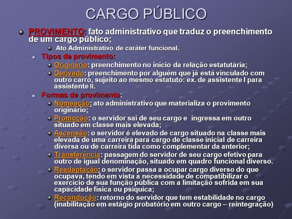 CARGO PÚBLICOPROVIMENTO: fato administrativo que traduz o preenchimento de um cargo público; Ato Administrativo de caráter funcional.