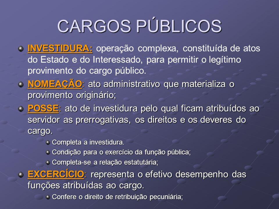 CARGOS PÚBLICOSINVESTIDURA: operação complexa, constituída de atos do Estado e do Interessado, para permitir o legítimo provimento do cargo público.