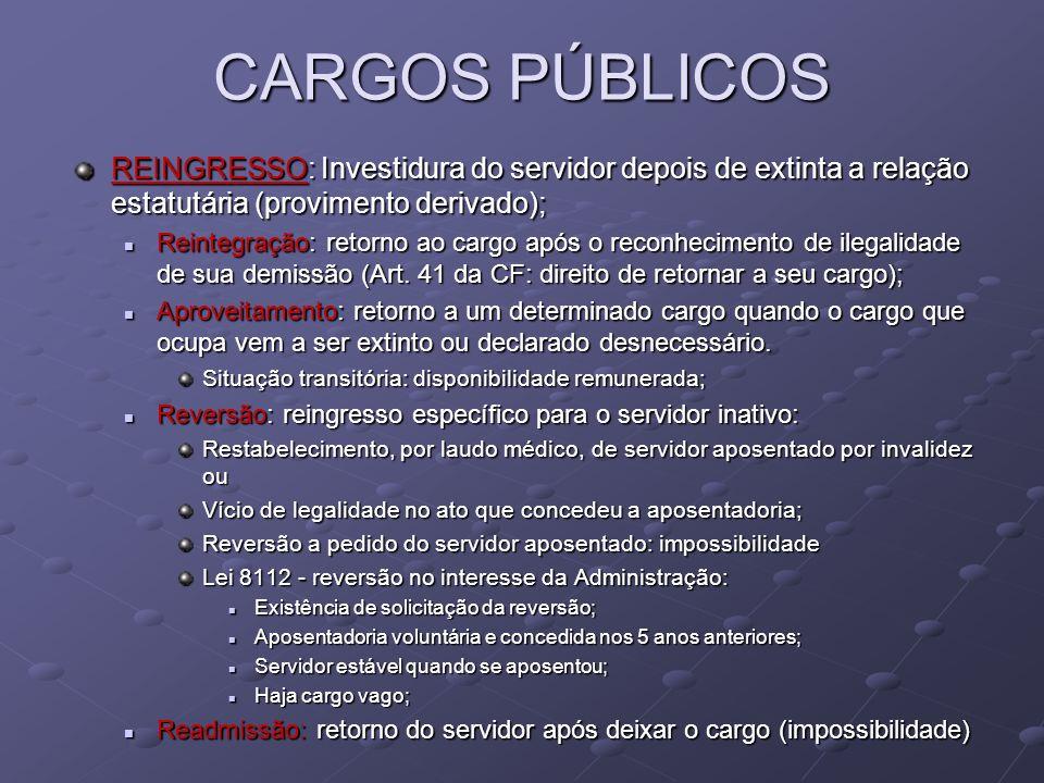 CARGOS PÚBLICOSREINGRESSO: Investidura do servidor depois de extinta a relação estatutária (provimento derivado);