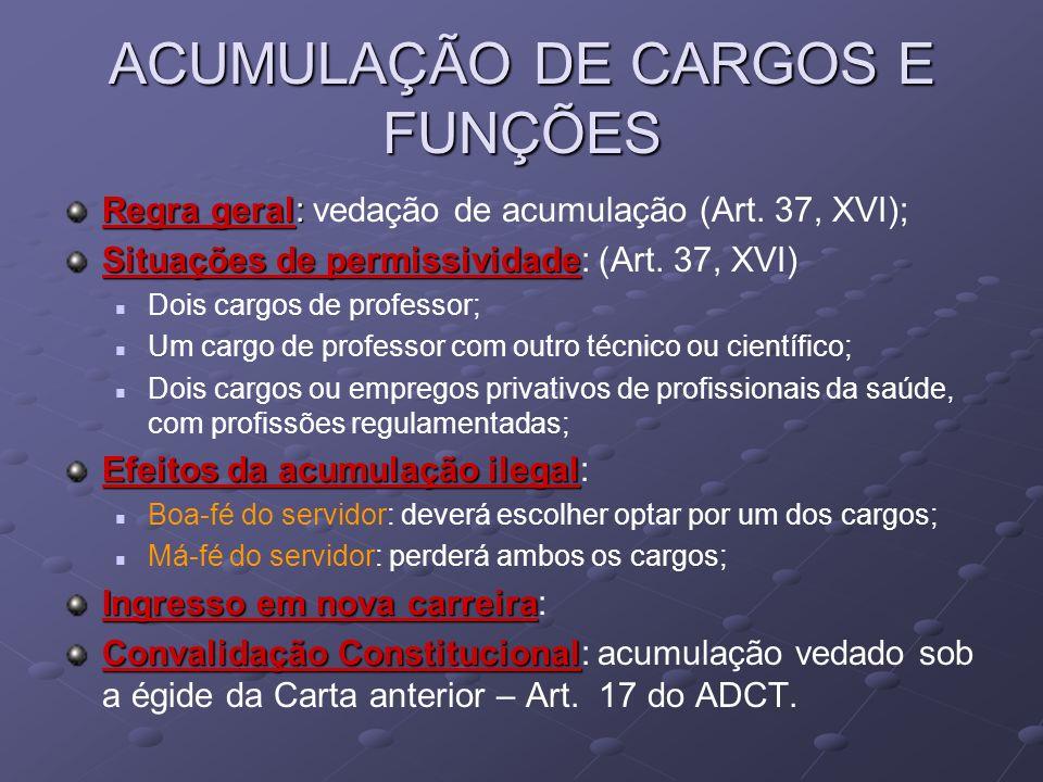ACUMULAÇÃO DE CARGOS E FUNÇÕES