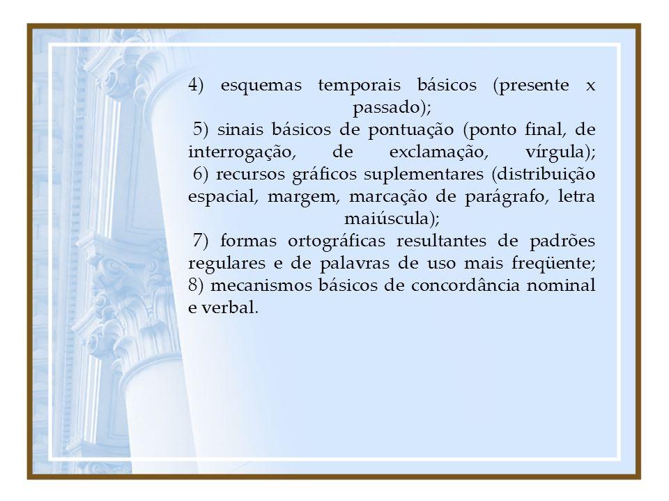 4) esquemas temporais básicos (presente x passado); 5) sinais básicos de pontuação (ponto final, de interrogação, de exclamação, vírgula); 6) recursos gráficos suplementares (distribuição espacial, margem, marcação de parágrafo, letra maiúscula); 7) formas ortográficas resultantes de padrões regulares e de palavras de uso mais freqüente; 8) mecanismos básicos de concordância nominal e verbal.