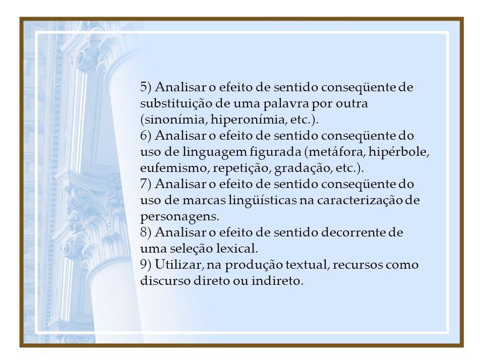 5) Analisar o efeito de sentido conseqüente de substituição de uma palavra por outra (sinonímia, hiperonímia, etc.).