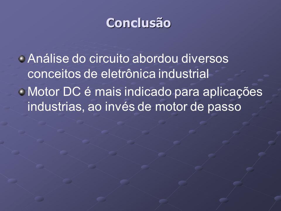 ConclusãoAnálise do circuito abordou diversos conceitos de eletrônica industrial.