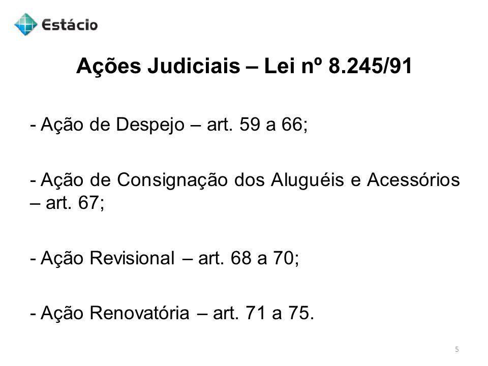 Ações Judiciais – Lei nº 8.245/91