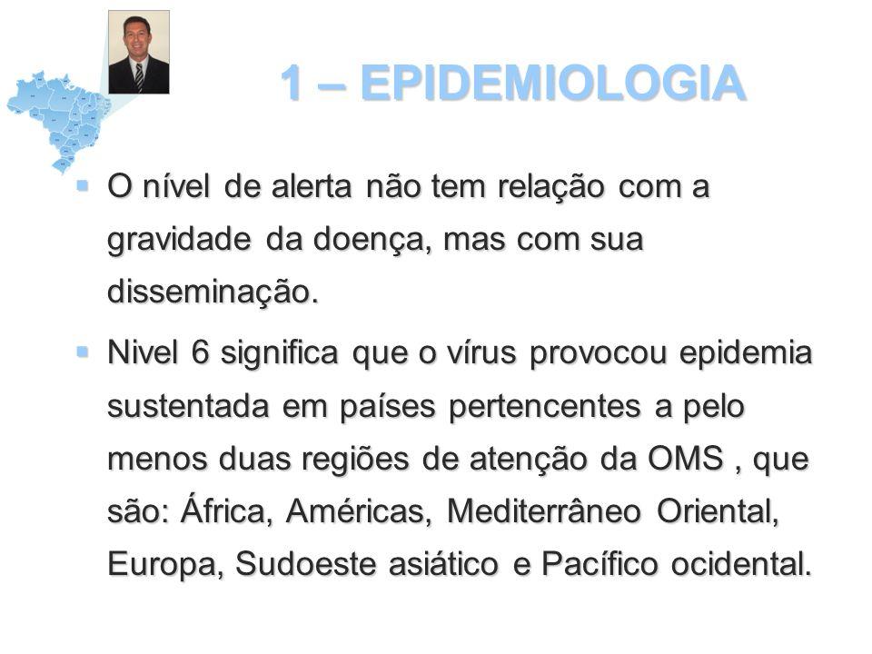 1 – EPIDEMIOLOGIA O nível de alerta não tem relação com a gravidade da doença, mas com sua disseminação.