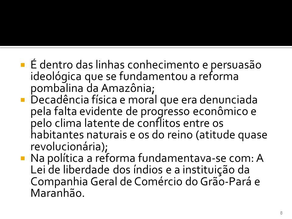 É dentro das linhas conhecimento e persuasão ideológica que se fundamentou a reforma pombalina da Amazônia;