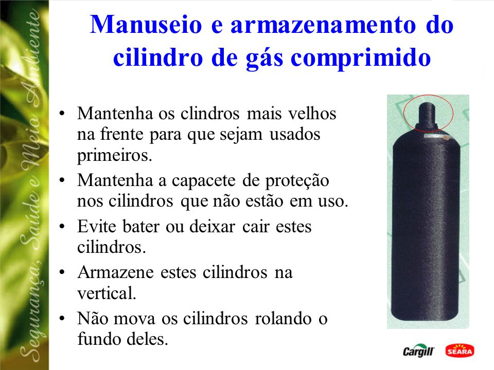 Manuseio e armazenamento do cilindro de gás comprimido