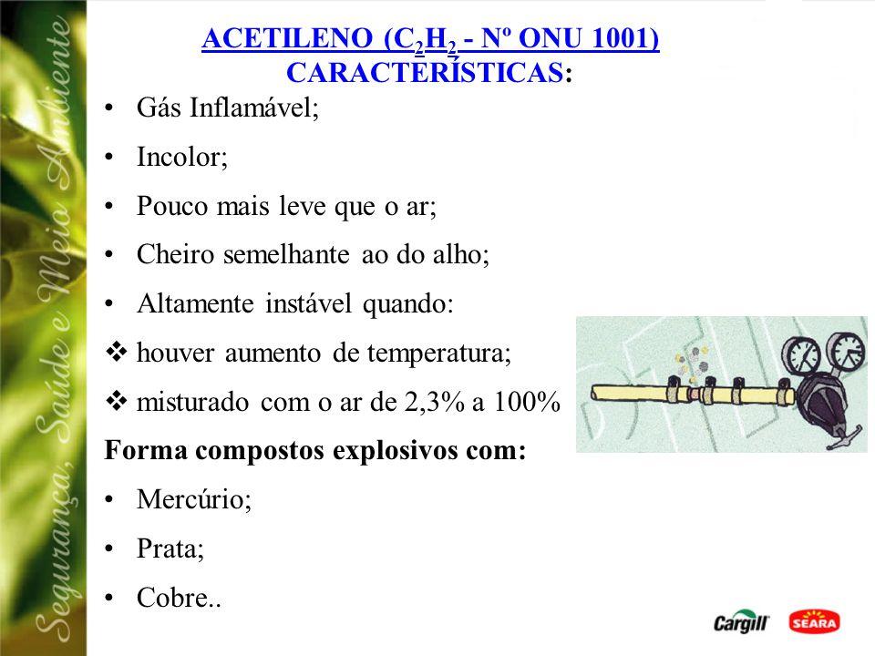 ACETILENO (C2H2 - Nº ONU 1001) CARACTERÍSTICAS: