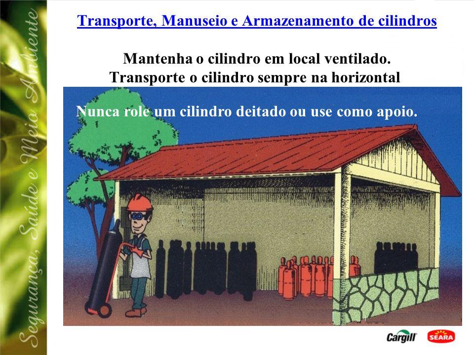Transporte, Manuseio e Armazenamento de cilindros Mantenha o cilindro em local ventilado. Transporte o cilindro sempre na horizontal.