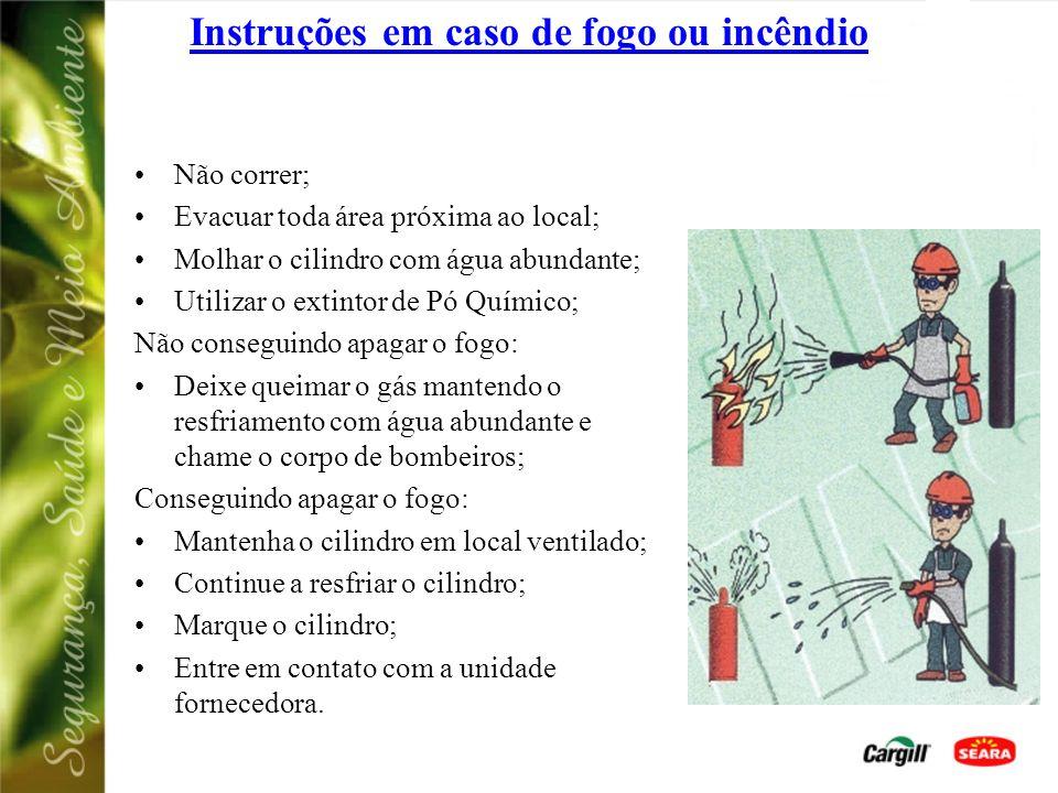 Instruções em caso de fogo ou incêndio