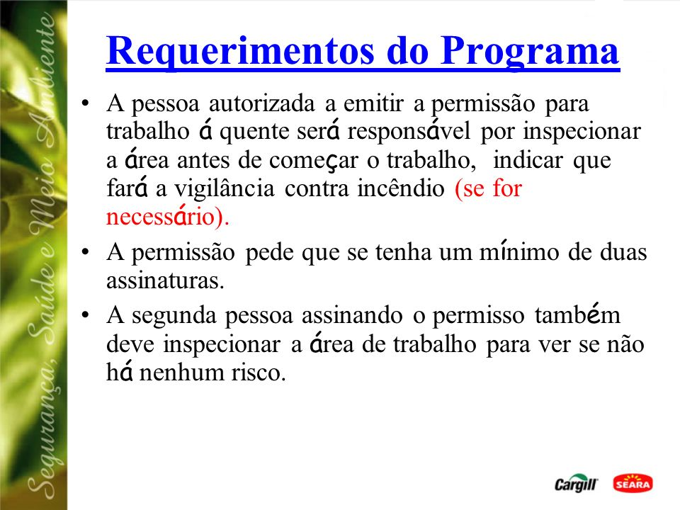 Requerimentos do Programa