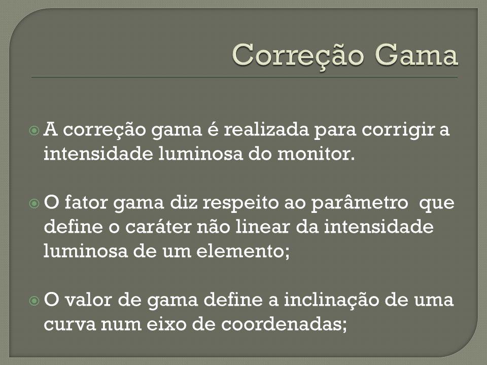 Correção GamaA correção gama é realizada para corrigir a intensidade luminosa do monitor.