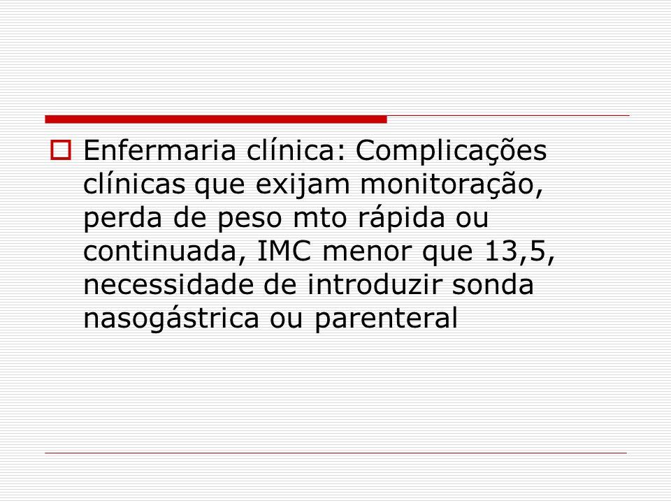Enfermaria clínica: Complicações clínicas que exijam monitoração, perda de peso mto rápida ou continuada, IMC menor que 13,5, necessidade de introduzir sonda nasogástrica ou parenteral