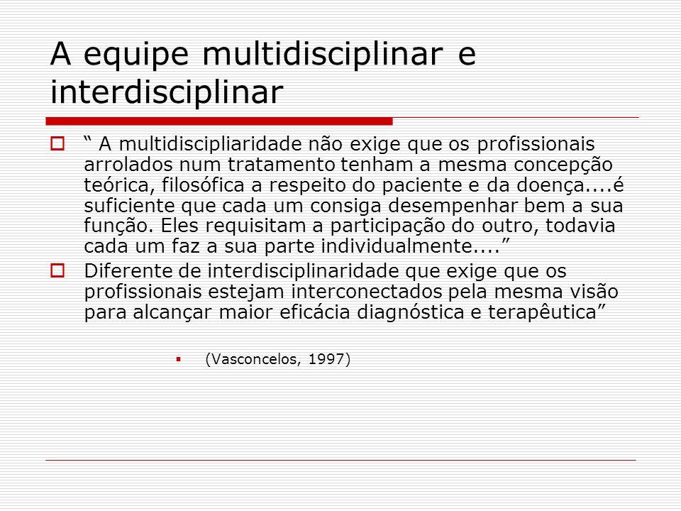 A equipe multidisciplinar e interdisciplinar