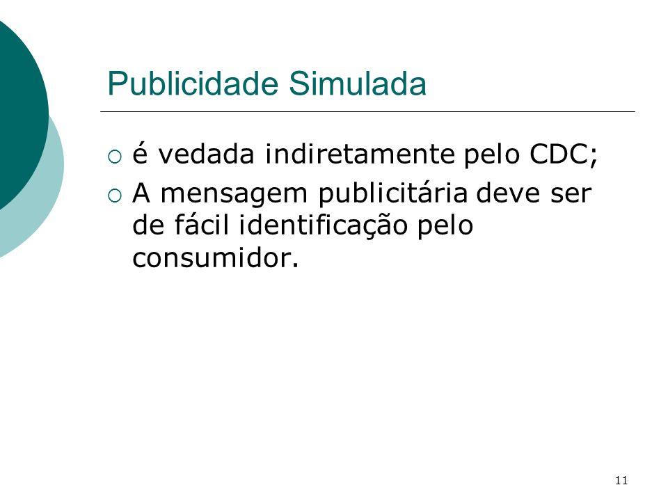 Publicidade Simulada é vedada indiretamente pelo CDC;