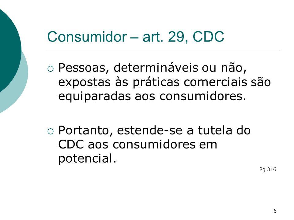Consumidor – art. 29, CDC Pessoas, determináveis ou não, expostas às práticas comerciais são equiparadas aos consumidores.