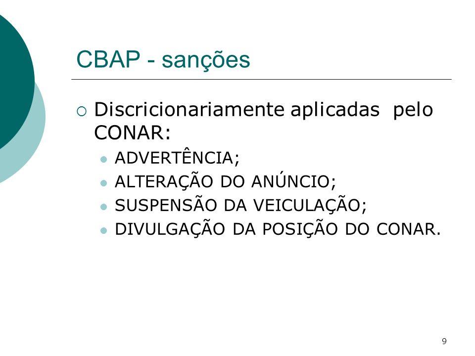 CBAP - sanções Discricionariamente aplicadas pelo CONAR: ADVERTÊNCIA;