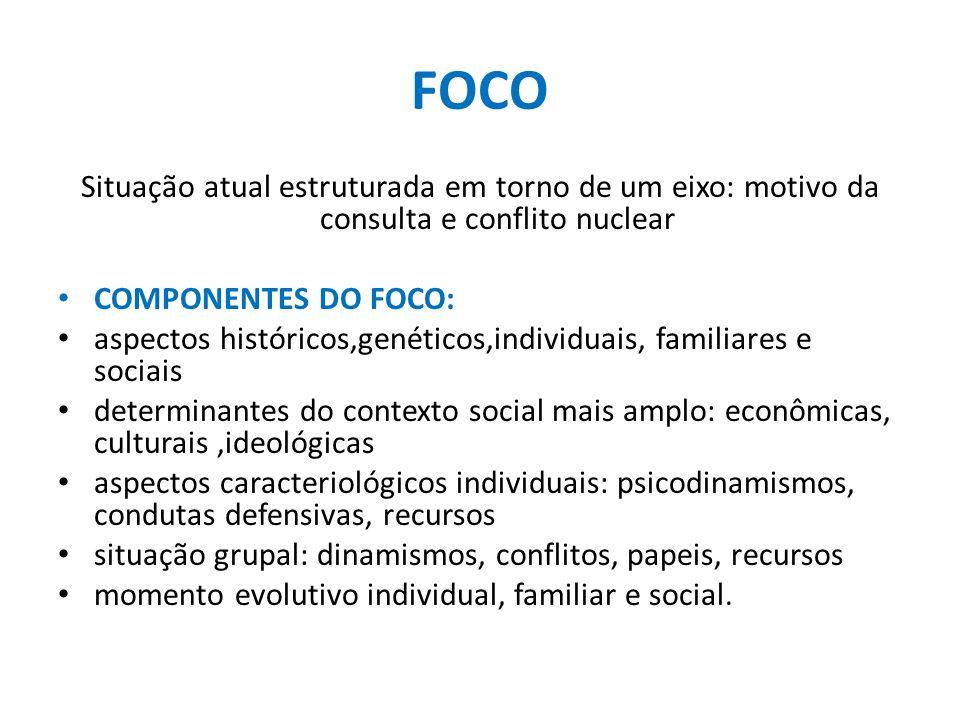 FOCO Situação atual estruturada em torno de um eixo: motivo da consulta e conflito nuclear. COMPONENTES DO FOCO:
