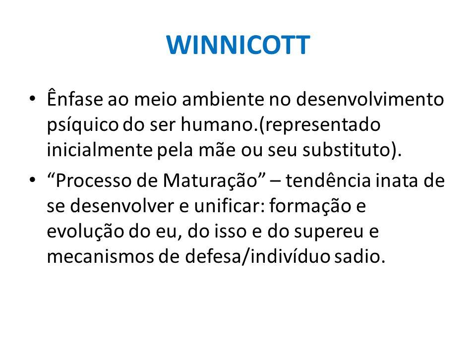 WINNICOTT Ênfase ao meio ambiente no desenvolvimento psíquico do ser humano.(representado inicialmente pela mãe ou seu substituto).