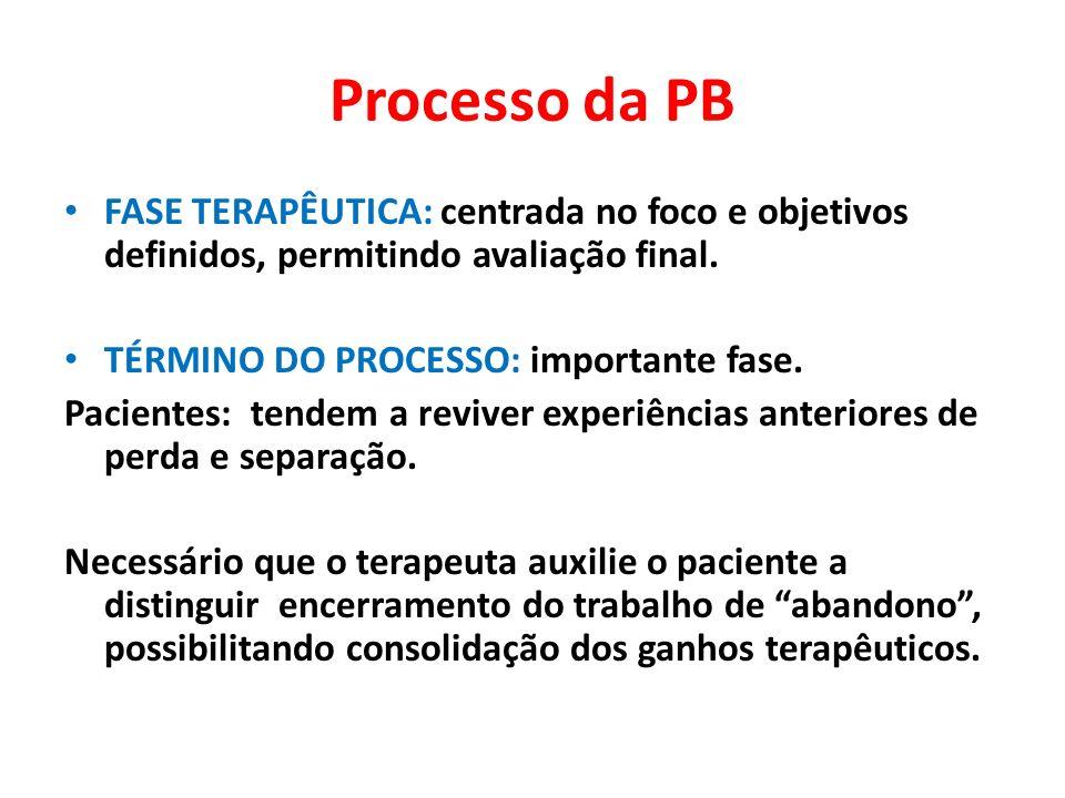 Processo da PBFASE TERAPÊUTICA: centrada no foco e objetivos definidos, permitindo avaliação final.
