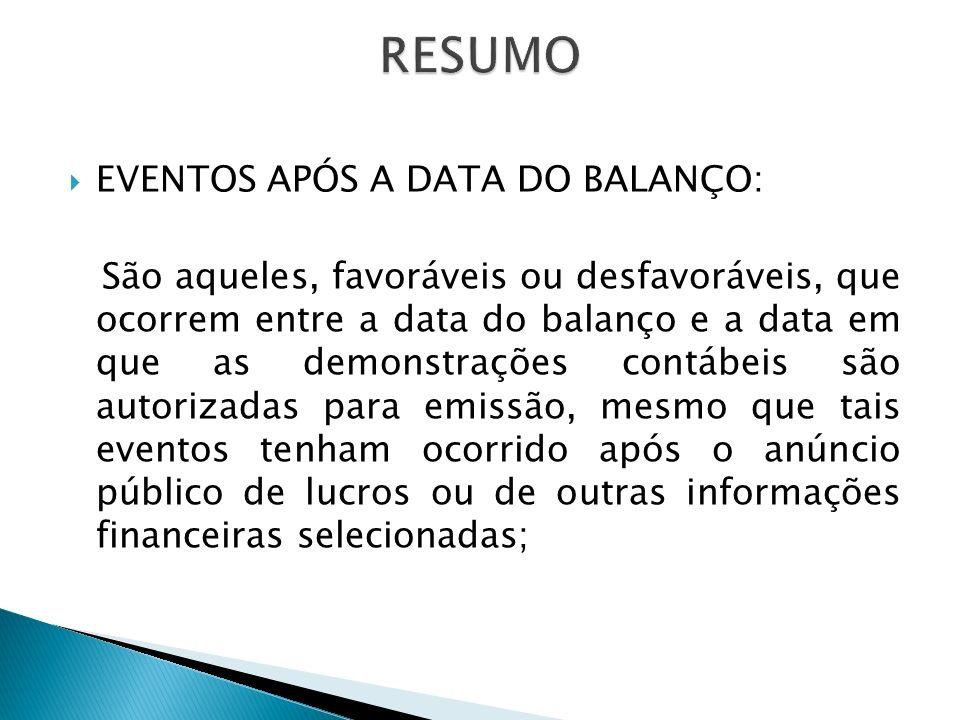 RESUMO EVENTOS APÓS A DATA DO BALANÇO: