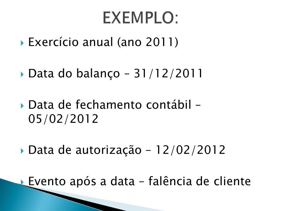 EXEMPLO: Exercício anual (ano 2011) Data do balanço – 31/12/2011