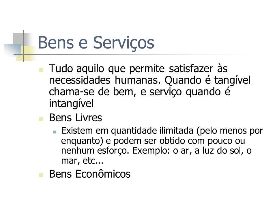 Bens e ServiçosTudo aquilo que permite satisfazer às necessidades humanas. Quando é tangível chama-se de bem, e serviço quando é intangível.