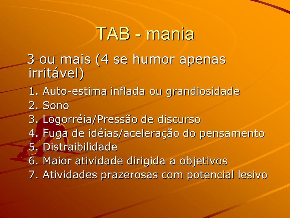 TAB - mania 3 ou mais (4 se humor apenas irritável)