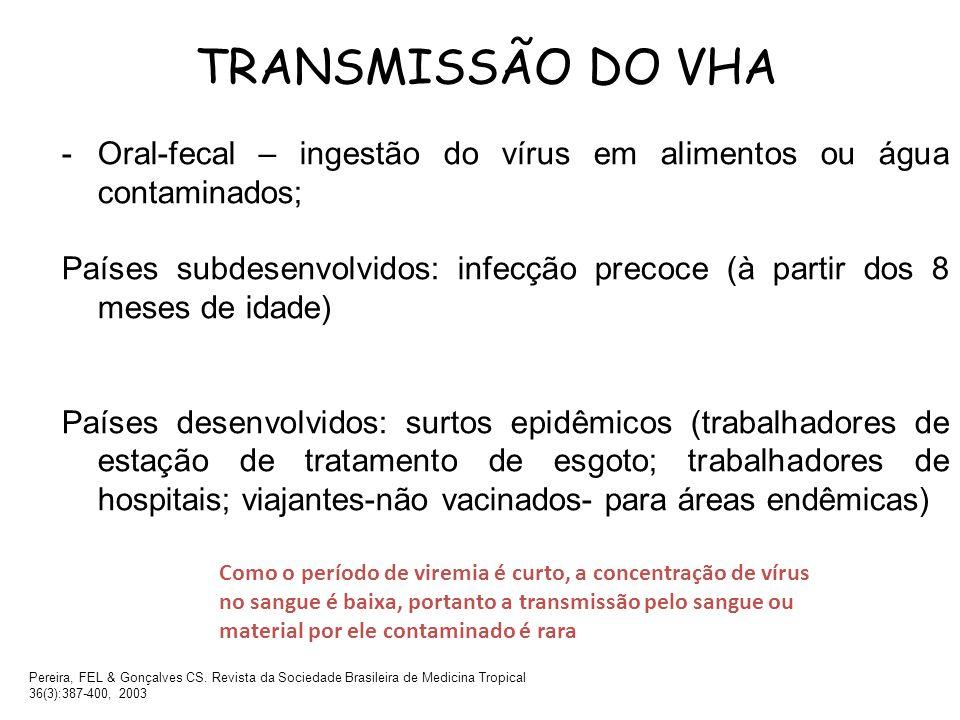 TRANSMISSÃO DO VHA Oral-fecal – ingestão do vírus em alimentos ou água contaminados;