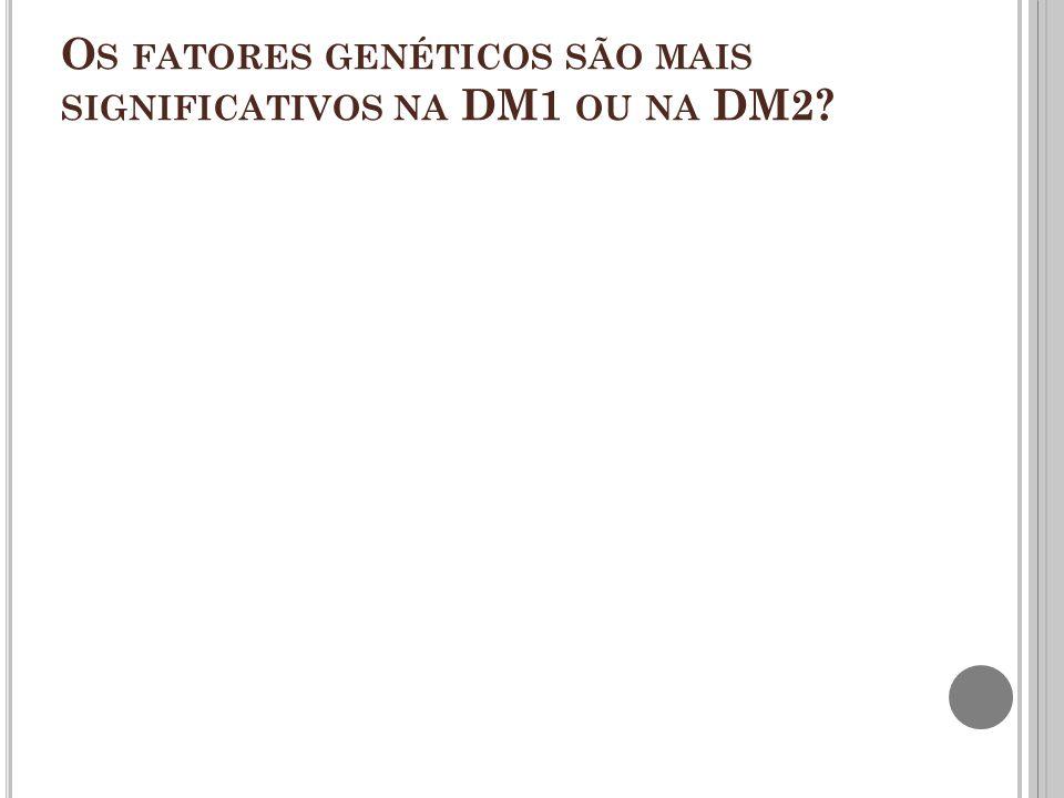 Os fatores genéticos são mais significativos na DM1 ou na DM2