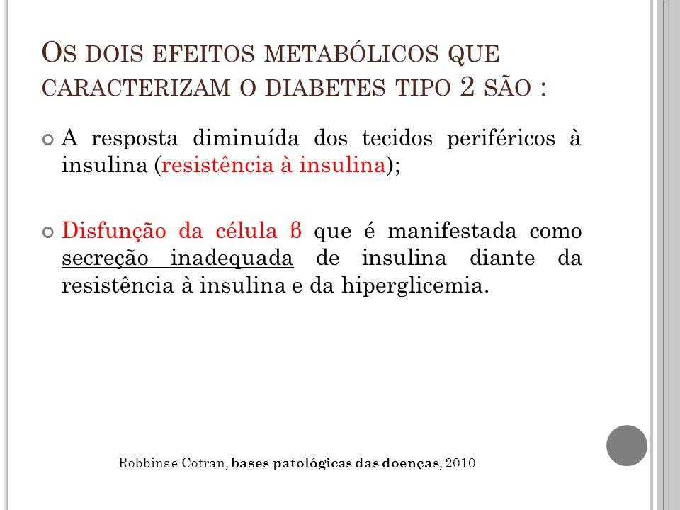 Os dois efeitos metabólicos que caracterizam o diabetes tipo 2 são :