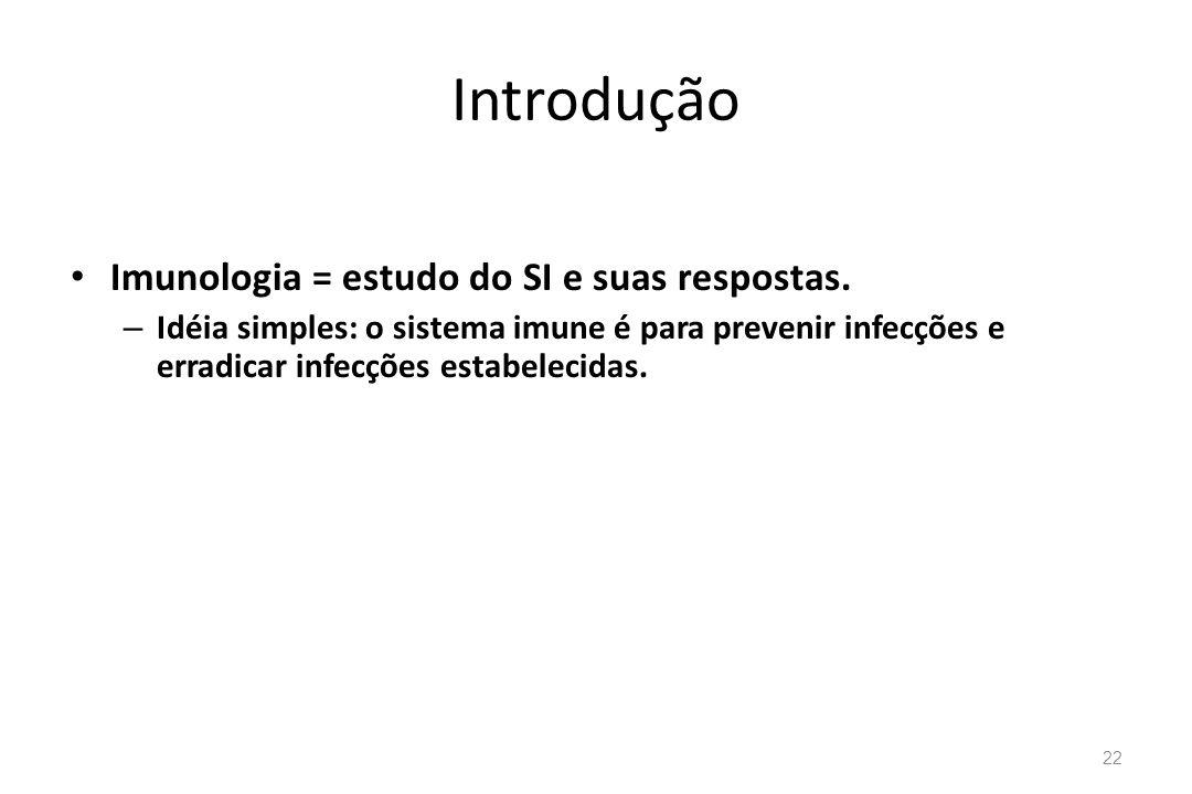 Introdução Imunologia = estudo do SI e suas respostas.