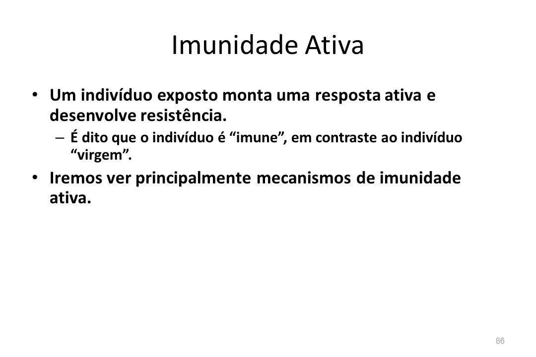 Imunidade Ativa Um indivíduo exposto monta uma resposta ativa e desenvolve resistência.