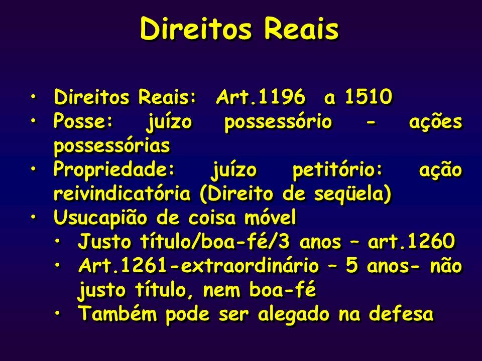 Direitos Reais Direitos Reais: Art.1196 a 1510