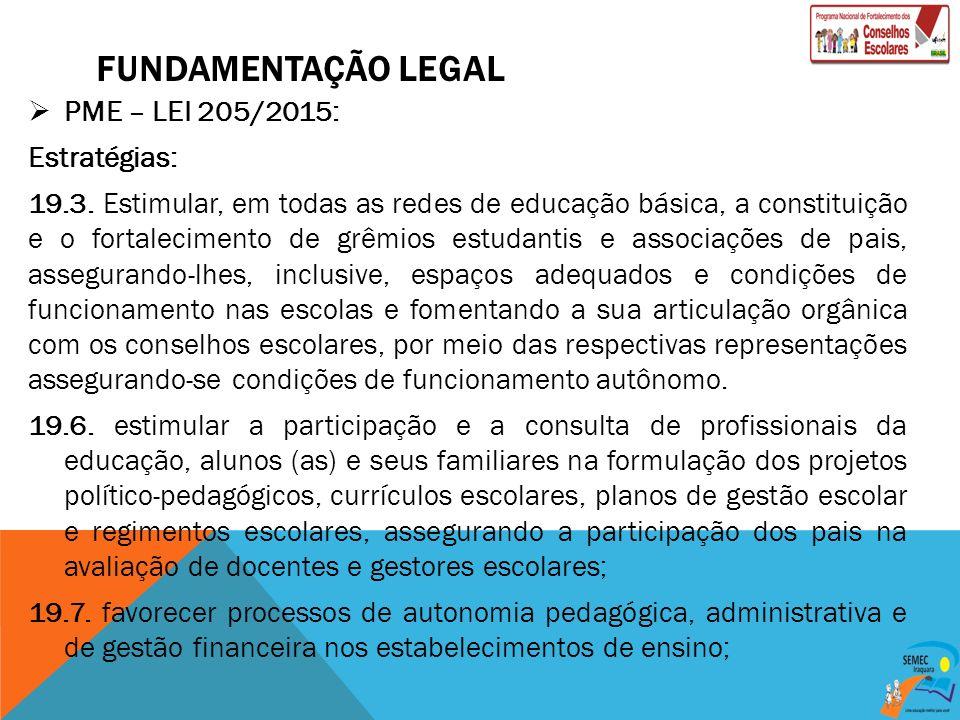 FUNDAMENTAÇÃO LEGAL PME – LEI 205/2015: Estratégias: