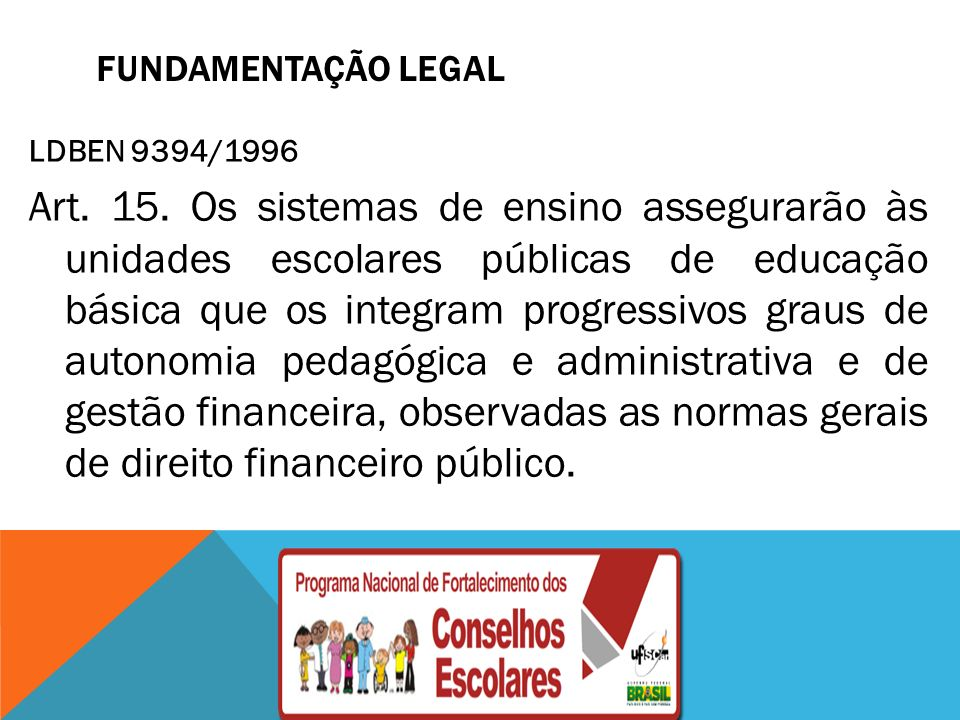 FUNDAMENTAÇÃO LEGAL LDBEN 9394/1996.