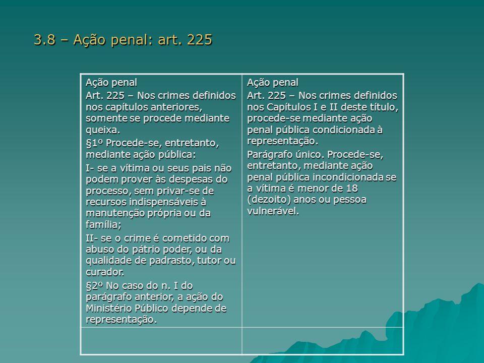 3.8 – Ação penal: art. 225 Ação penal