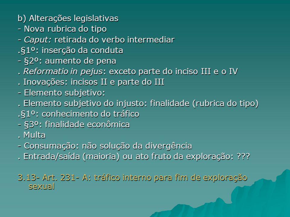 b) Alterações legislativas