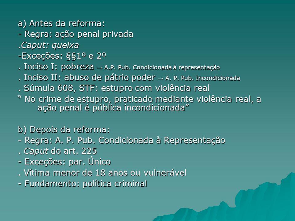 a) Antes da reforma: - Regra: ação penal privada. .Caput: queixa. -Exceções: §§1º e 2º.