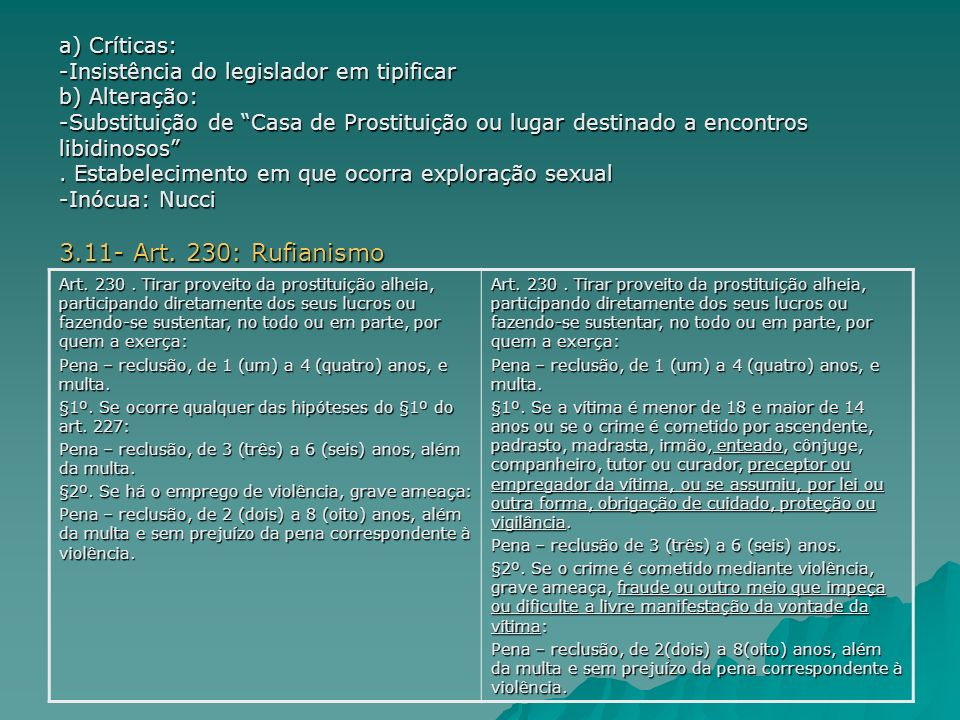 3.11- Art. 230: Rufianismo a) Críticas: