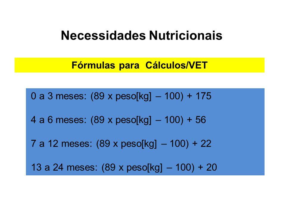 Necessidades Nutricionais Fórmulas para Cálculos/VET