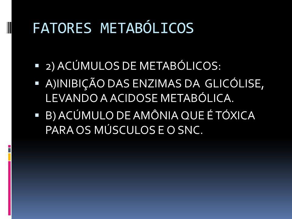 FATORES METABÓLICOS 2) ACÚMULOS DE METABÓLICOS: